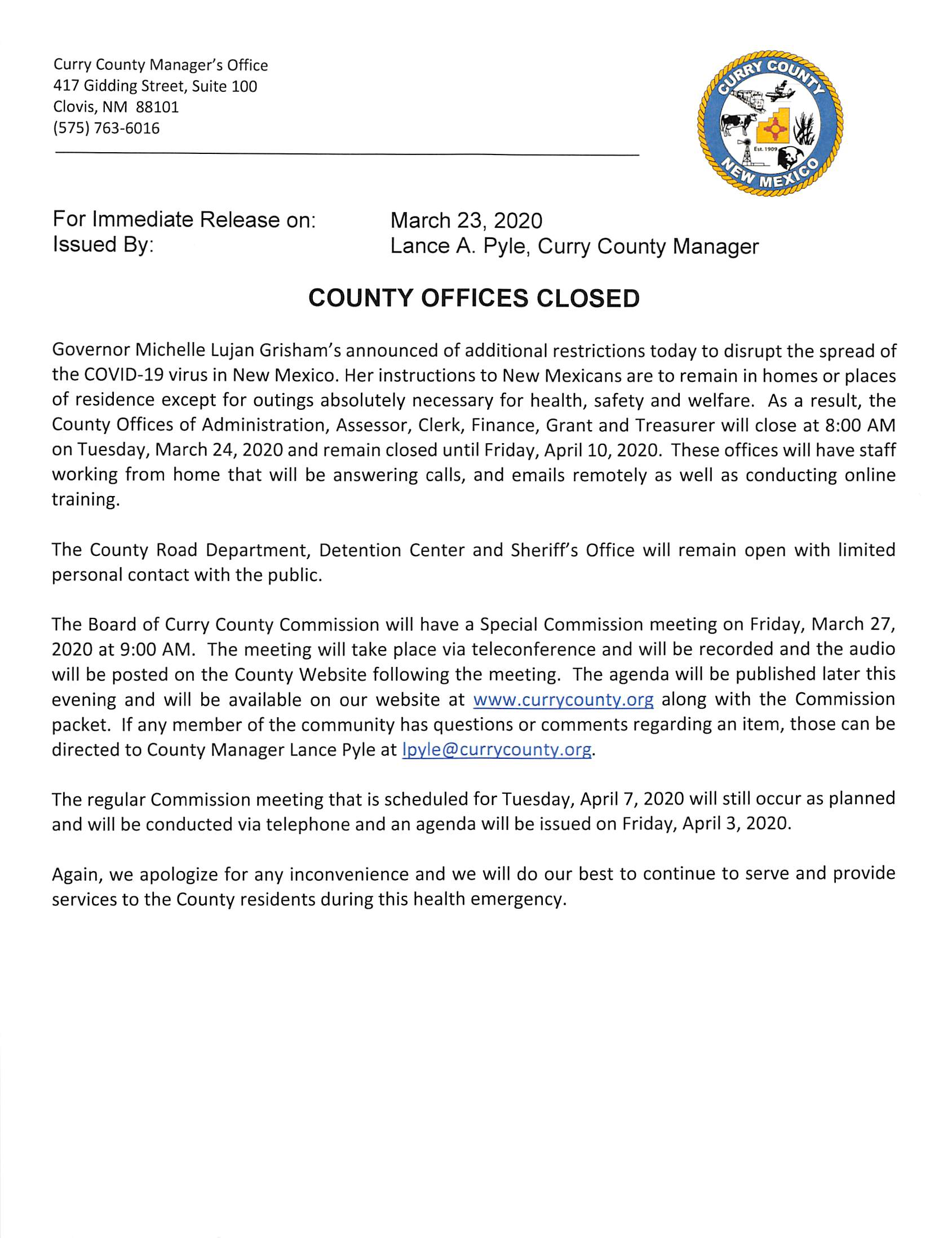 Press Release - Offices Closed