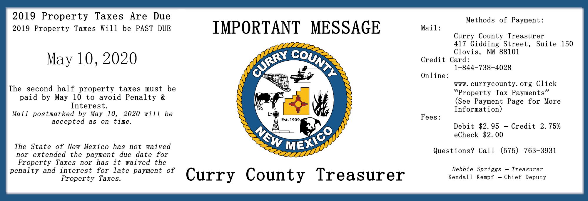 Treasurer Notice that Property Taxes are due before May 10th, 2020