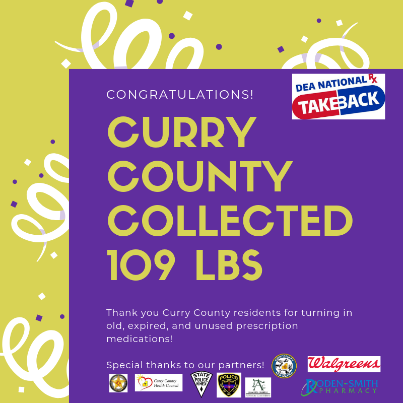 Curry County collected 109 LBS during its Saturday April 27, 2019 event.